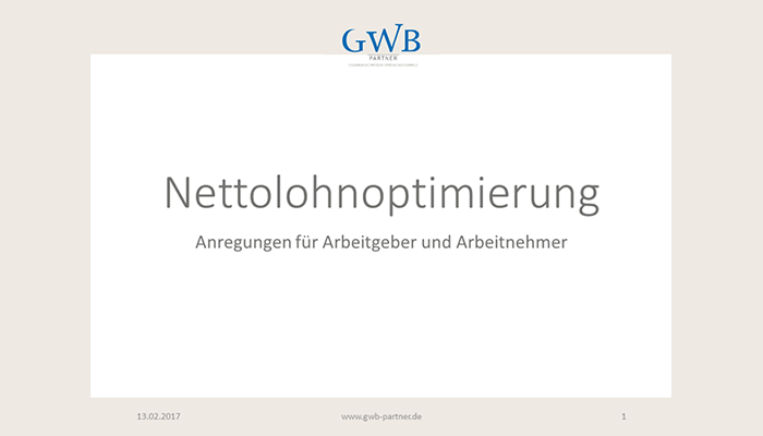 Vortrag Nettolohnoptimierung